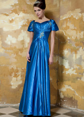 Gorgeous Royal Blue Elastic Woven Satin Short Sleeve Evening Dress