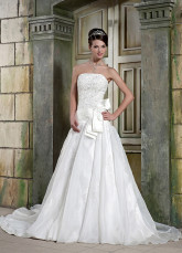Ivory Strapless Bow Organza Satin A-line Wedding Dress