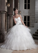 Ivory Beading Net Satin Ball Gown Wedding Dress