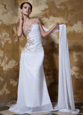 Unique White One-Shoulder Beading Chiffon Satin Evening Dress