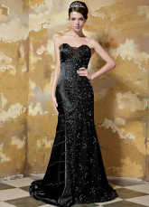 Floral Black Elastic Woven Satin Sweetheart Evening Dress