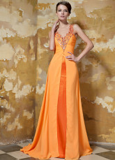 Orange Elastic Woven Satin Chiffon V-neck Evening Dress
