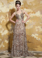 Embroidery Champagne Beading Halter Evening Dress