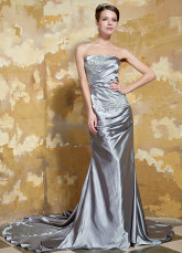 Silver Strapless Beading Elastic Woven Satin Evening Dress