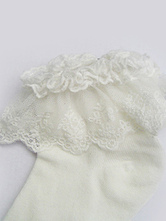 Lolitashow Sweet White Cotton Lolita Ankle Socks Lace Trim