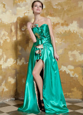 Green Front Splitting Ruffles Elastic Woven Satin Evening Dress