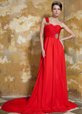 Red Elastic Woven Satin Chiffon One Shoulder Evening Dress