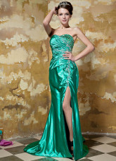Sexy Side Split Green Elastic Woven Satin Sweetheart Evening Dress
