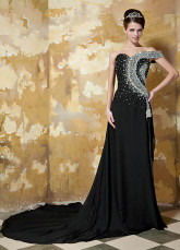 Elegant Black Elastic Woven Satin Beading One Shoulder Evening Dress