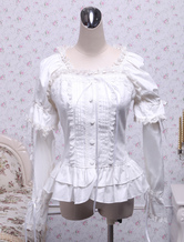 Lolitashow White Cotton Lolita Blouse Long Sleeves Square Neck Lace Trim Layered Ruffles Lace Bow