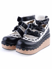 Lolitashow Black PU Leather Bow Platform Lolita Shoes