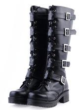 Gothic Black Lolita Boots Square Heels Platform Shoelace Straps Buckles