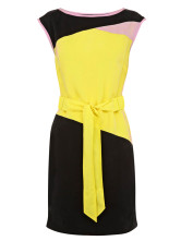 Yellow Color Block Shaping Acetate Woman's Party Dress
