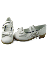 White Sweetheart Shaped Buckle PU Lolita Shoes