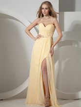 Yellow Strapless Sweetheart Splitting Chiffon Prom Dress