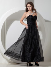 Black Organza Sweetheart Floor Length A-line Bridesmaid Dress