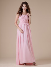 Pink Sweetheart Chiffon Floor Length Womens Bridesmaid Dress