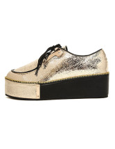 Glittery Sequined PU Leather Women's Lace Up Platform Shoes