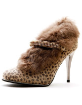 Modern Leopard Print PU Leather Furry Rhinestone Women's High Heel Booties