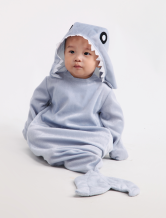 Grey Shark Pattern Polyester Baby Costume