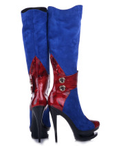 Blue Color Block Sheepskin Suede Woman's Knee Length Boots