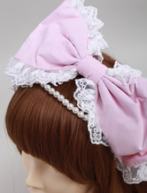 Lolitashow Pink Cotton Lovely Pearls Lolita Headdress