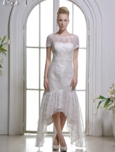 Ivory Sheath Jewel Neck Off-The-Shoulder Lace Bridal Wedding Gown