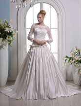 Ivory A-line Jewel Neck Strapless Satin Bridal Wedding Gown