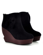 Sweet Nubuck Bow Zipper Women's Wedge Ankle Boots