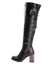 Black Lace-Up Buckle PU Woman's Over the Knee Boots
