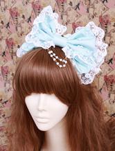 Lolitashow Big Bow Light Green Cotton Lolita Headdress