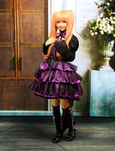 Lolitashow Multi-Layer Purple Cotton Long Sleeves Gothic Lolita Dress