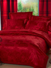 Floral Red Jacquard Cotton 4-Piece Wedding Bedding Set