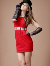 Red Jewel Neck Sequin Polyester Tank Dress for Women