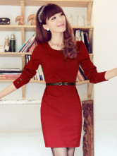Red Sash Cotton Blend Bodycon Dress for Woman