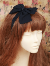 Lolitashow Sweet Pure Black Lolita Headbow Bow Decor