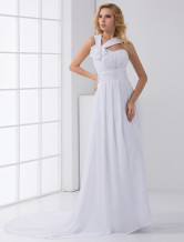 White Empire Waist Halter Floral Chiffon Wedding Dress For Bride