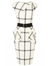 White Jewel Neck Sleeveless Plaid Ruffles Dress For Woman