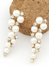 Elegante Bianco bordare della lega delle donne orecchini di goccia-No.1