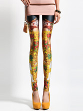 Trendy Gold Artwork Spandex Women's Leggings
