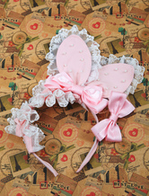 Lolitashow Sweet Pink Bow Lace Rabbit Ear Shape Cotton Lolita Hair Band