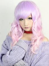 Lolitashow ロリィタウィッグ,ピンク&ラベンダー色 レーヨン 斜め前髪