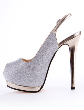 Chic Argento materiale sintetico Glitter Peep Toe High Heels No.2