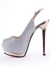 Chic Argento materiale sintetico Glitter Peep Toe High Heels No.2