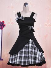 Schönes Lolita Kleid Baumwolle mit Schleife im süßen und hübschen Style in Schwarz