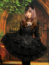 Lolitashow Gothic Black Lolita One-piece Dress Long Hime Sleeves Lace Up Layers Lace Trim