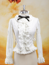 Lolitashow Elegant White Ruffles Long Sleeves Pure Cotton Lolita Blouse