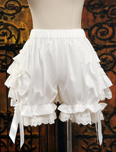 Lolitashow Cute White Cotton Lolita Bloomers Layered Ruffles Lace Trim Bow Ribbon