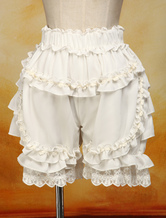 Lolitashow Lovely Ecru White Cotton Lolita Bloomers Lace Trim Ruffles