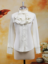 Lolitashow Chiffon Blouse Long Sleeves Stand Collar Ruffles Bow